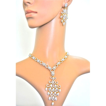 American Diamond Chandelier Necklace Set