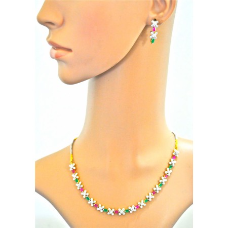 American Diamond Necklace with Rubies and Emeralds