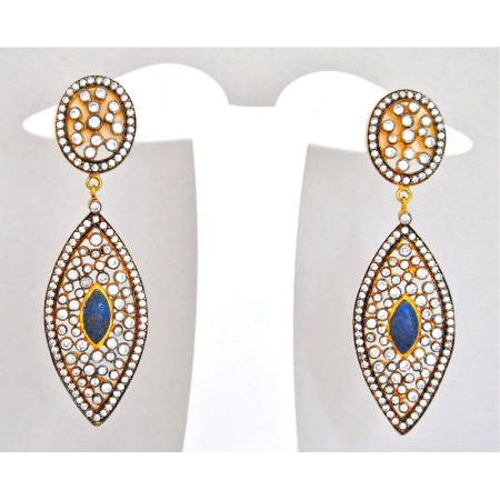 Diamond Drop Turquoise Earrings