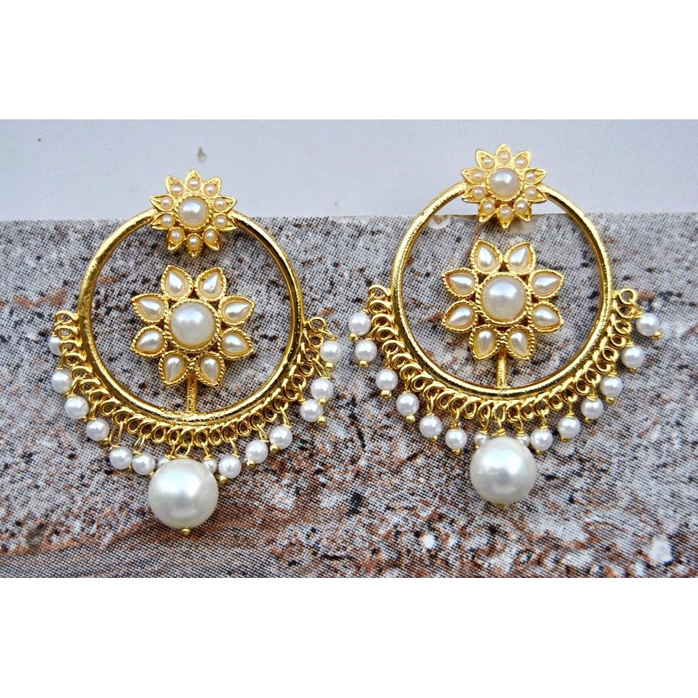 Punjabi Pearl Sunflower Bali Hoop Earrings