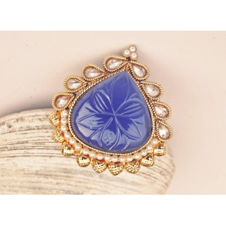 Blue Gold Framed Cocktail Ring