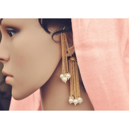 Pearl Gold Chain Ear Cuff Earrings
