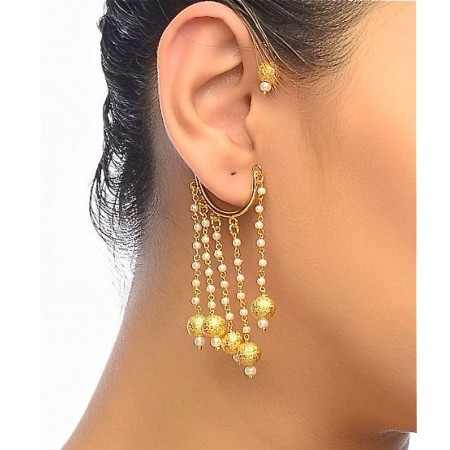 Gold Ball Ear Cuff Earrings