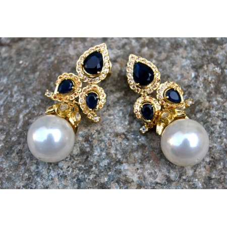 Black Diamond Pearl Drop Earrings