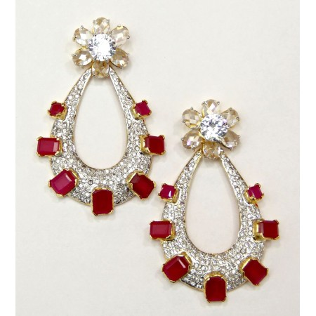 American Diamond Ruby Dangler Earrings