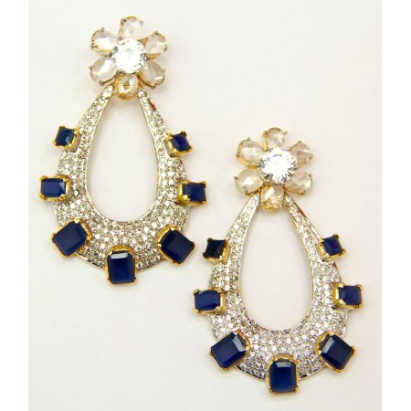 American Diamond Sapphire Dangler Earrings