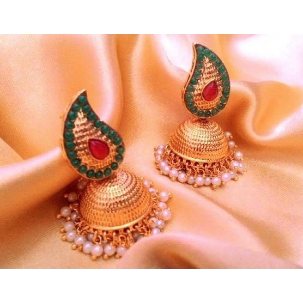 file accent red with earrings bazaar gold drop indian jhumka page bejewelled product coated