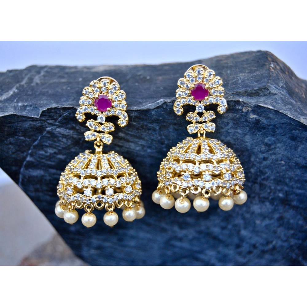 buy pourni earring a designer product online exclusive diamond code jhumka american