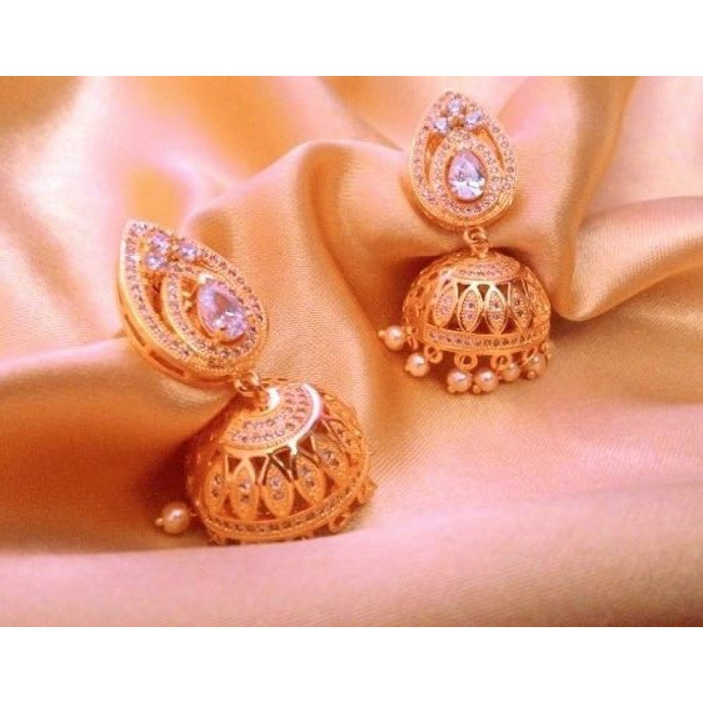 gold designer earring en gifts jhumka yellow earrings