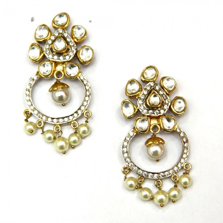 Sterling Silver Kundan Pearl Earrings