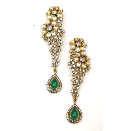 Jade Drop Sterling Silver Earrings with Champagne Diamonds