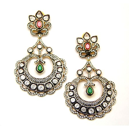 Sterling Silver Victorian Kundan Earrings
