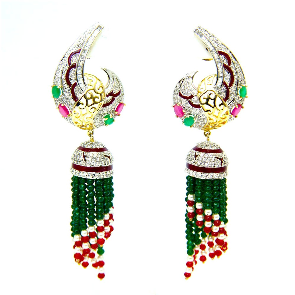 diamond jhumkas jhumka peacock