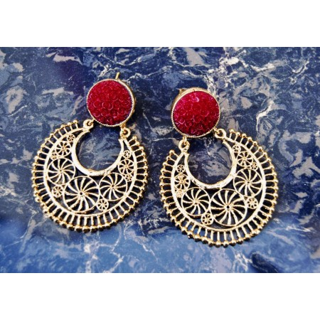 Bold Red Gold Filigree Earrings