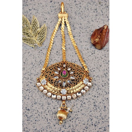 Antique Golden Diamond Maang Tikka Jhumar