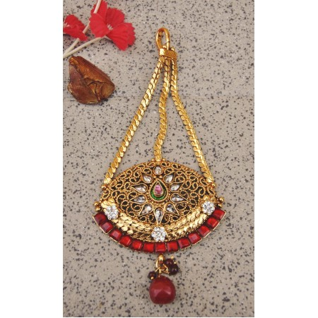 Antique Golden Red Maang Tikka Jhumar