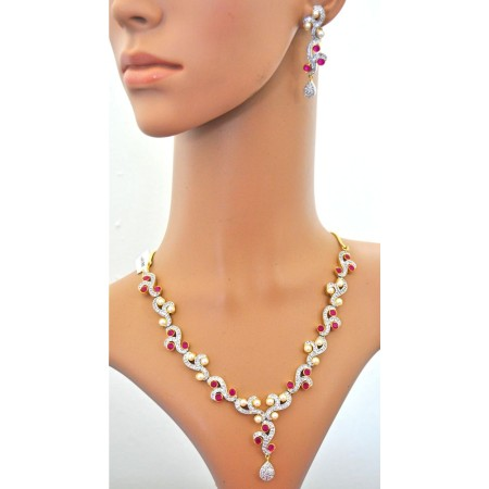 Ruby Diamond Necklace Set with Pearls