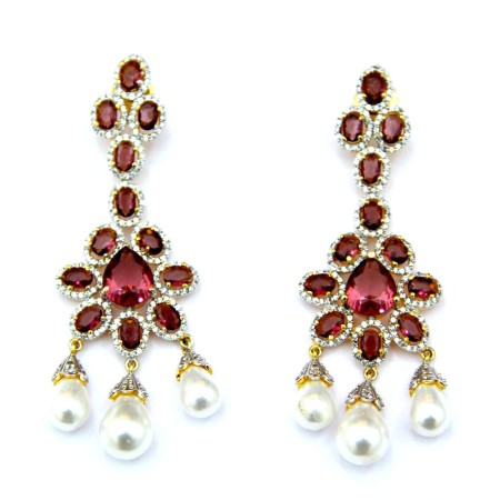 Elegantsia Wine Diamond Pearl Earrings