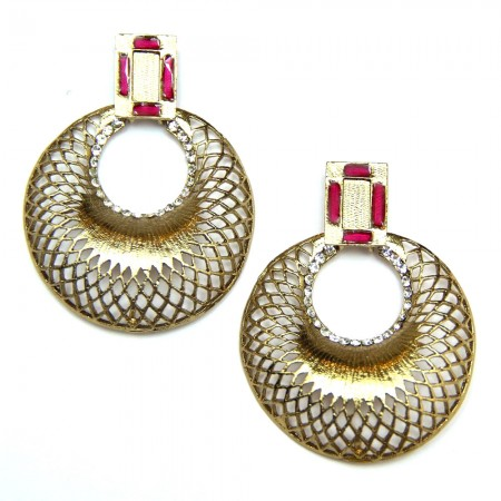 Gold Network Earrings