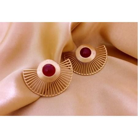 Golden Red Onyx Ear Jackets