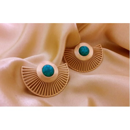 Golden Turquoise Ear Jackets