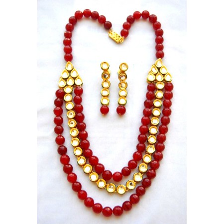 Red Onyx Kundan Necklace