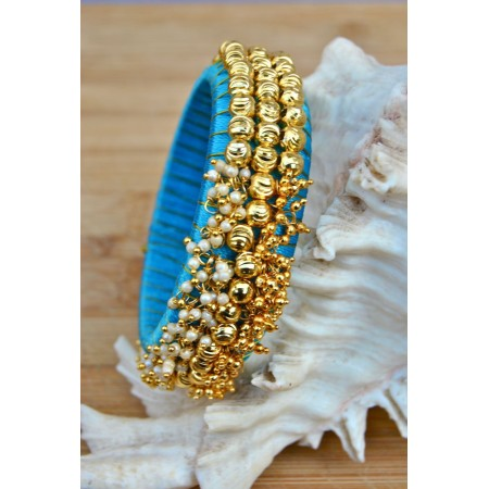 Sky Blue Thread Bangles with Pearls and Ghungroos