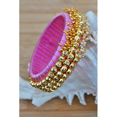 Pale Pink Silk Thread Bangles with Pearls and Ghungroos