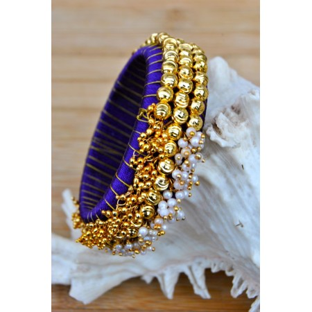Purple Silk Thread Bangles with Pearls and Ghungroos
