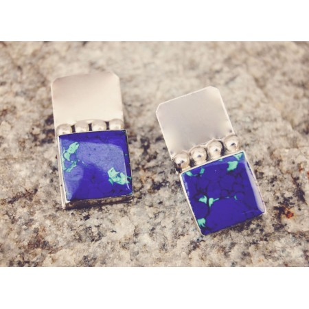 Sterling Silver Earrings with Lapis Turquoise Flecks