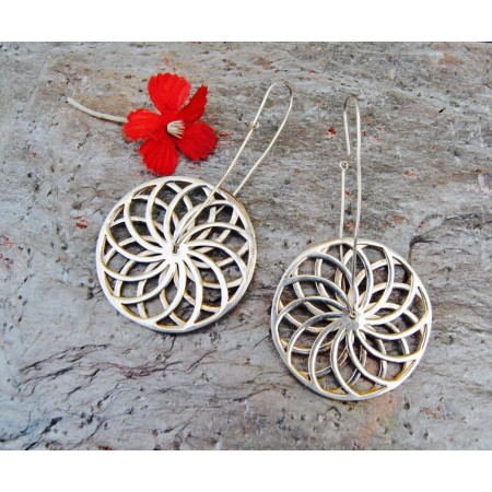 Sterling Silver Wheel Earrings