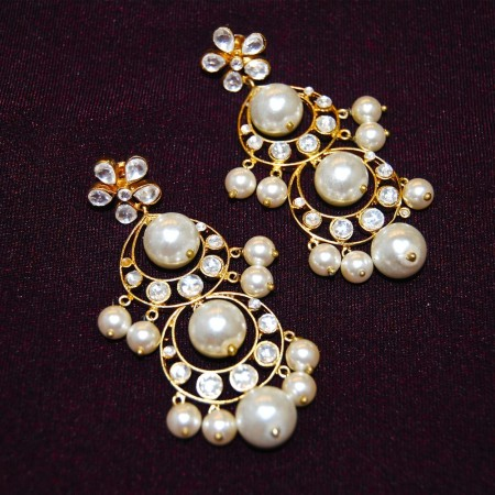 Pearl Kundan Dangler Earrings