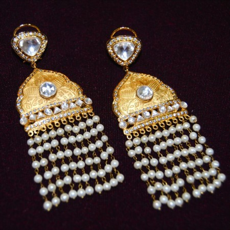 Mughal Gold Pearl Earrings