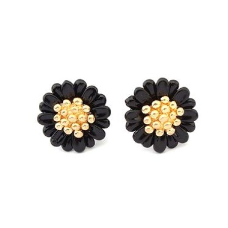 Daisy Black Gold Plated Stud Earrings