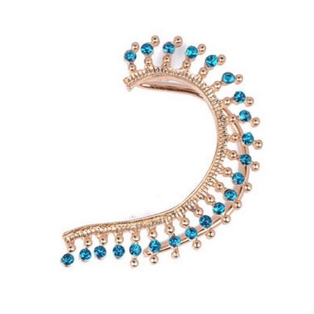 Blue Diamond Ear Cuff Earrings