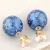 Royal Blue Patterned Double Sided Stud Earrings