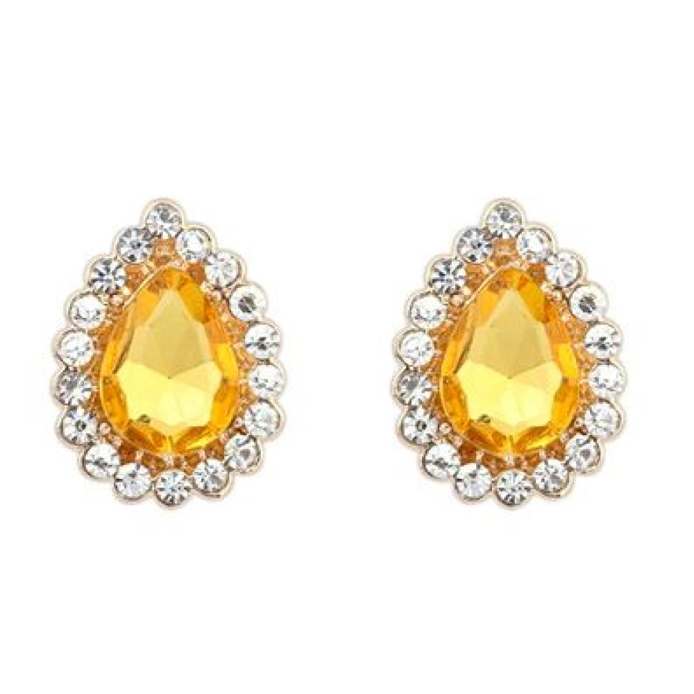 Yellow Topaz Stud Earrings Bling Jewelry Square Cz
