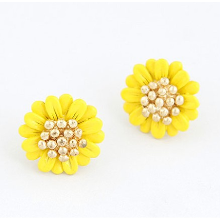 Daisy Yellow Gold Plated Stud Earrings