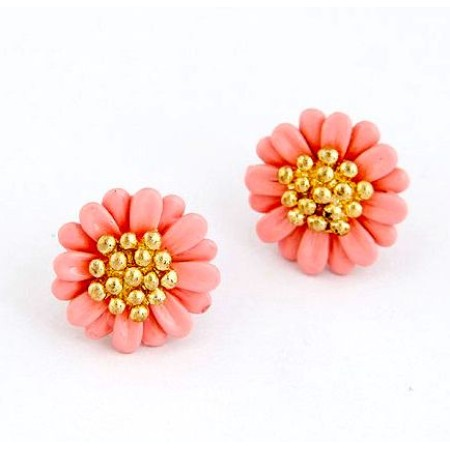 Daisy Pink Gold Plated Stud Earrings