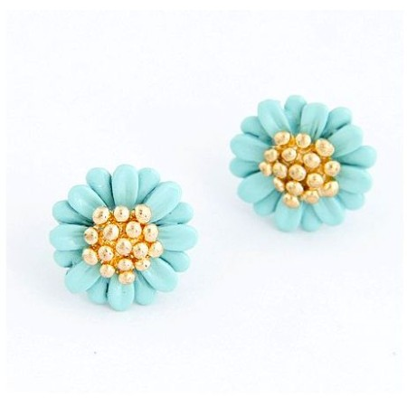 Daisy Blue Gold Plated Stud Earrings