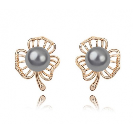 Black Pearl Gold Floral Studs