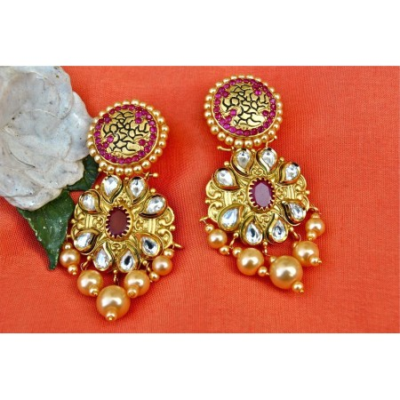 Designer Ruby Kundan Earrings with Golden Pearls