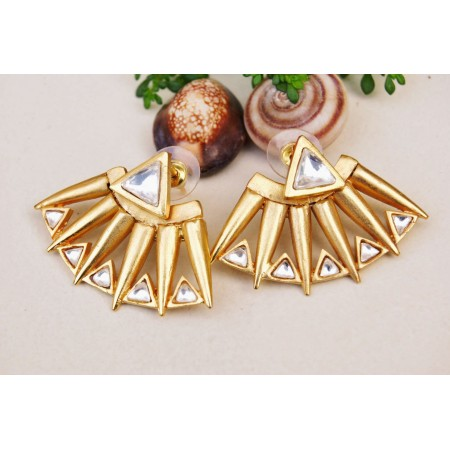 Gold Kundan Ear Jackets