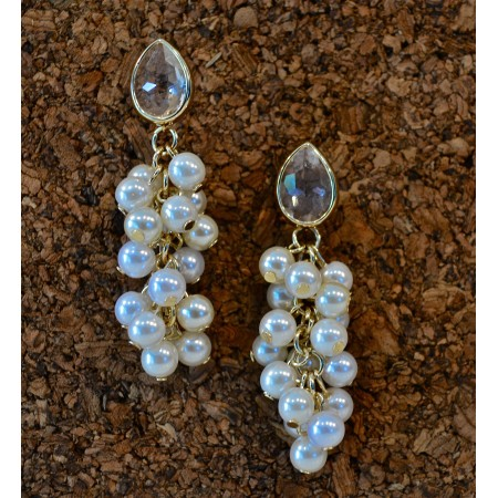 Crystal Studs with Pearl Bunch Earrings