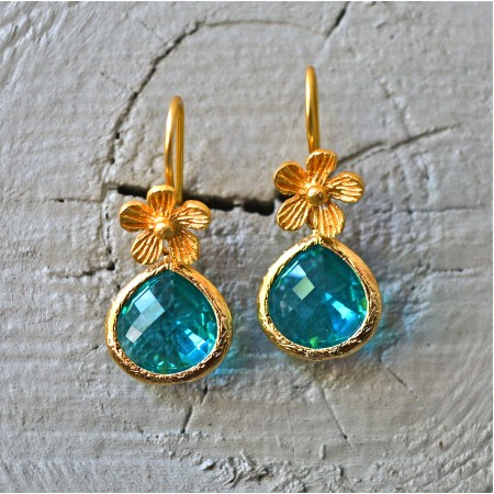 Aqua Blue Drop Floral  Earrings
