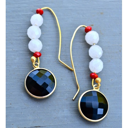 Black Onyx Long Drop Earrings