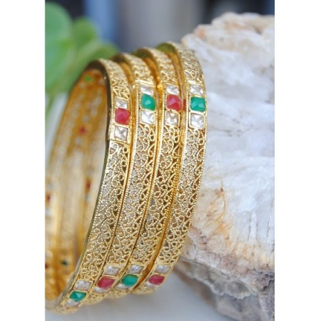 Delicate Gold Filigree Ruby Emerald Bangles