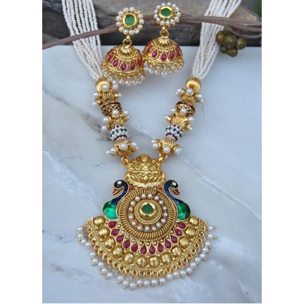 Antique Designer Meenakari Peacock Laxmi Necklace Set With