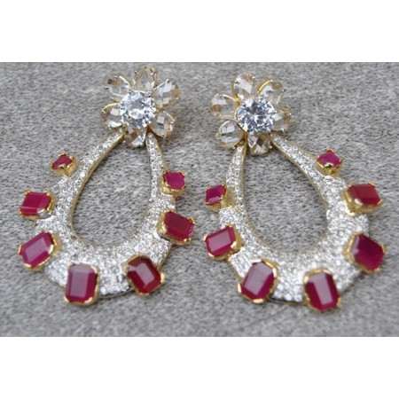 Ruby Studded American Diamonds Earrings