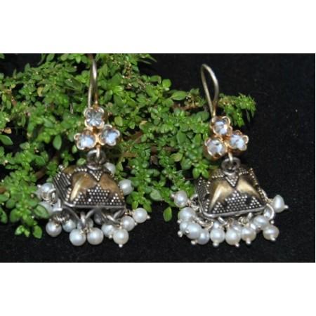 Silver Crystal Jhumka Earrings